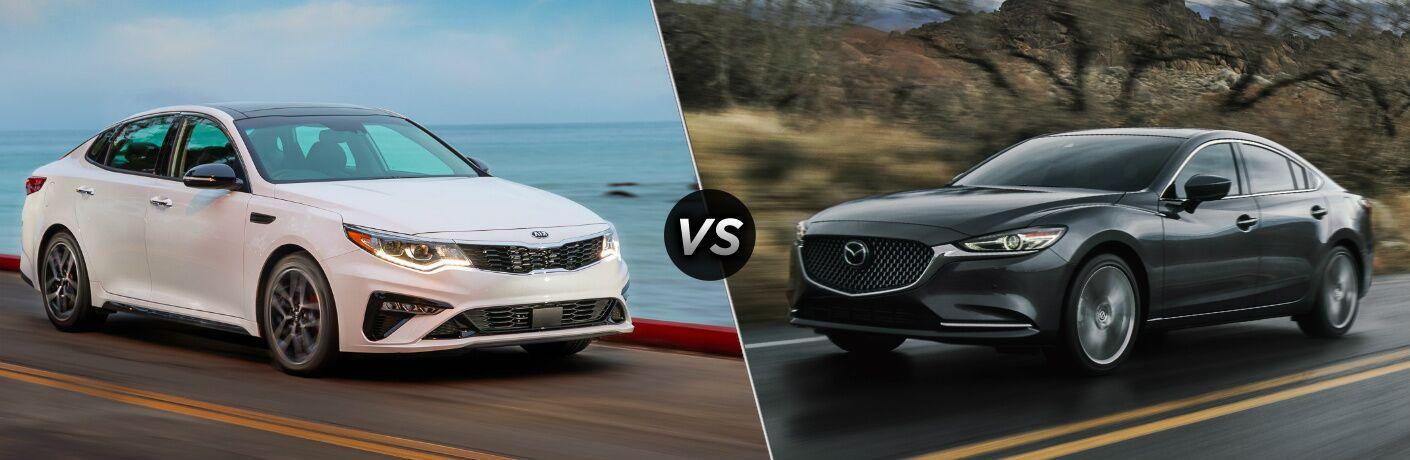 White 2020 Kia Optima vs grey 2020 Mazda6