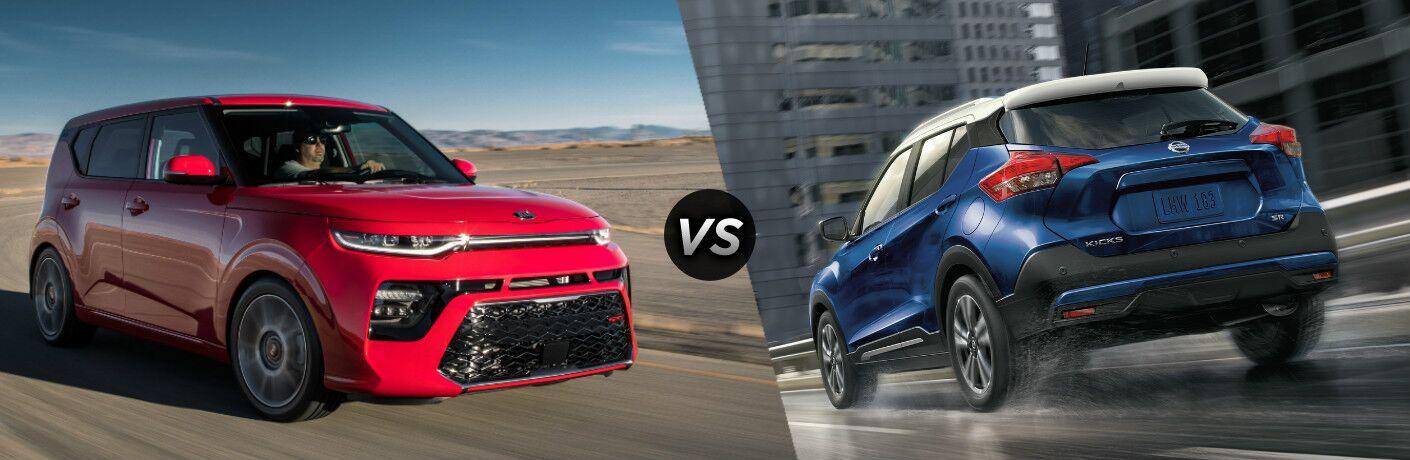 Front view of red 2020 Kia Soul vs rear view of blue 2020 Nissan Kicks