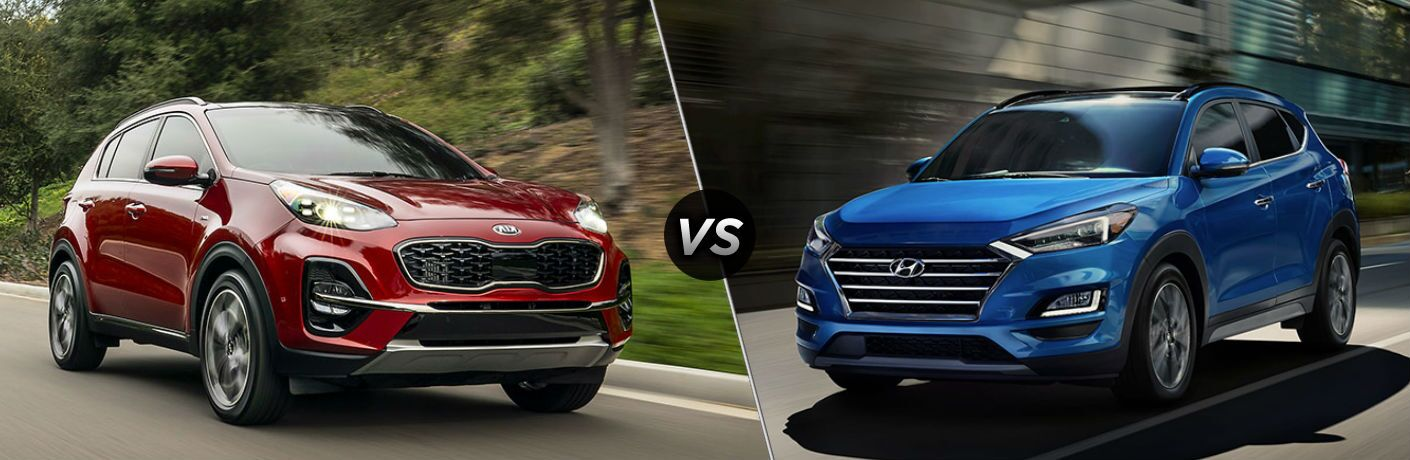 Red 2020 Kia Sportage vs blue 2020 Hyundai Tucson