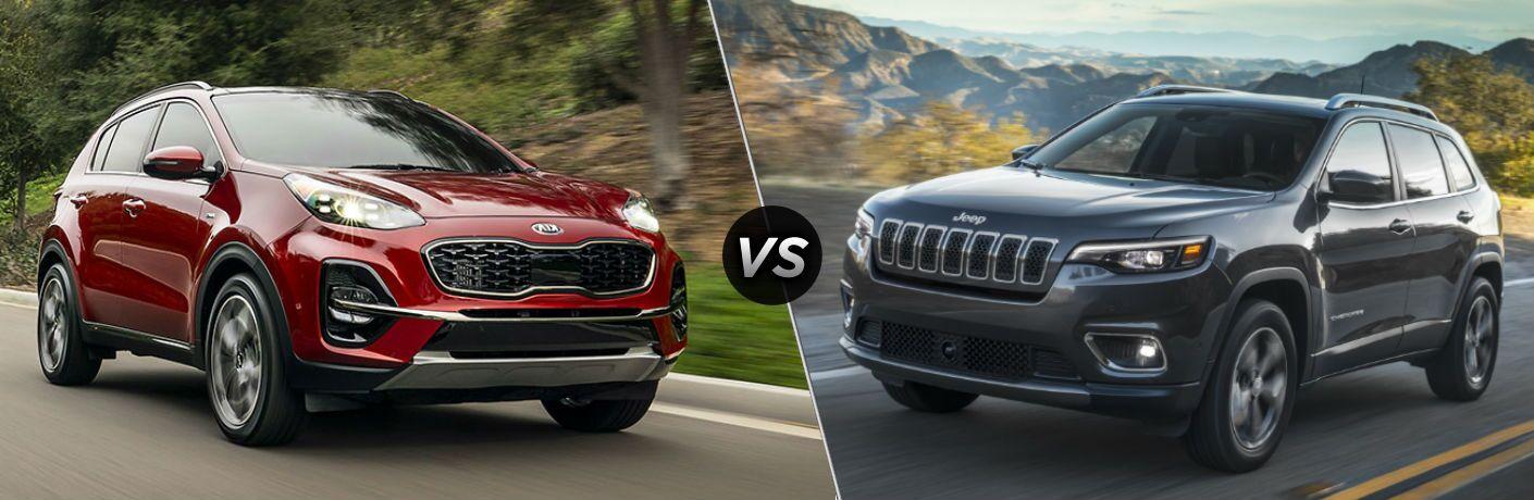 Red 2020 Kia Sportage vs grey 2020 Jeep Cherokee