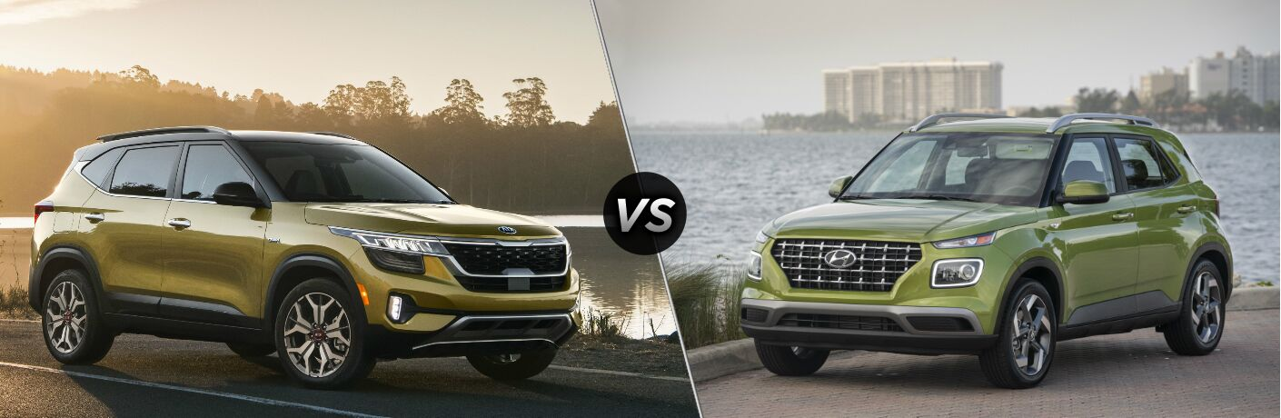 Yellow 2021 Kia Seltos vs lime 2020 Hyundai Venue