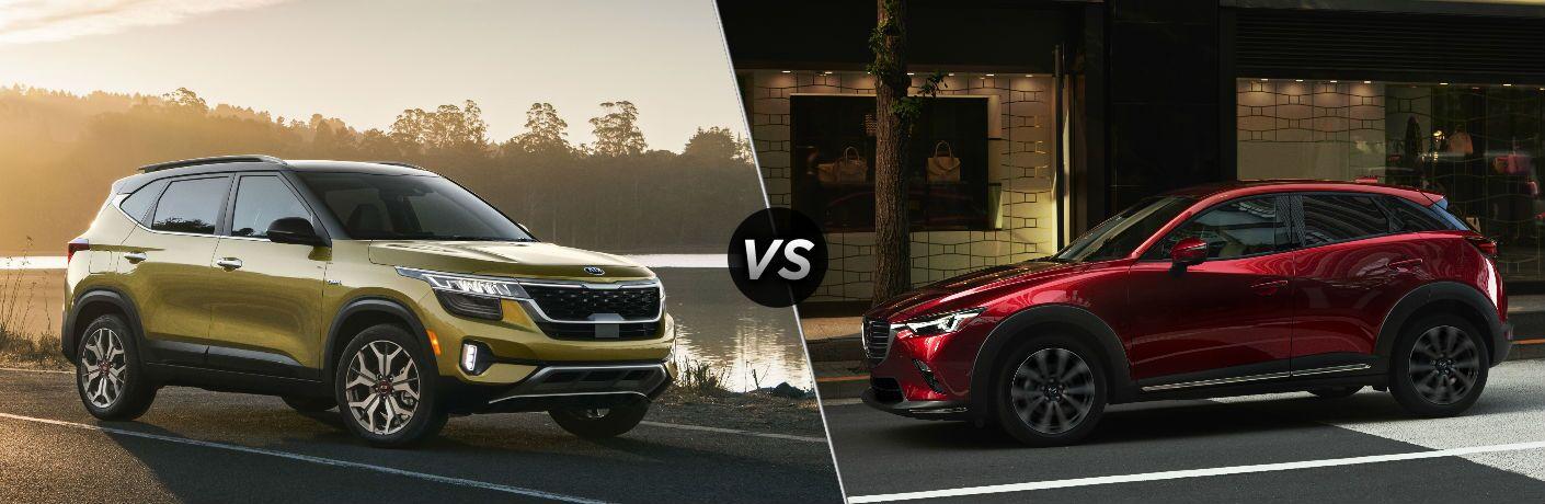 Yellow 2021 Kia Seltos vs red 2020 Mazda CX-3