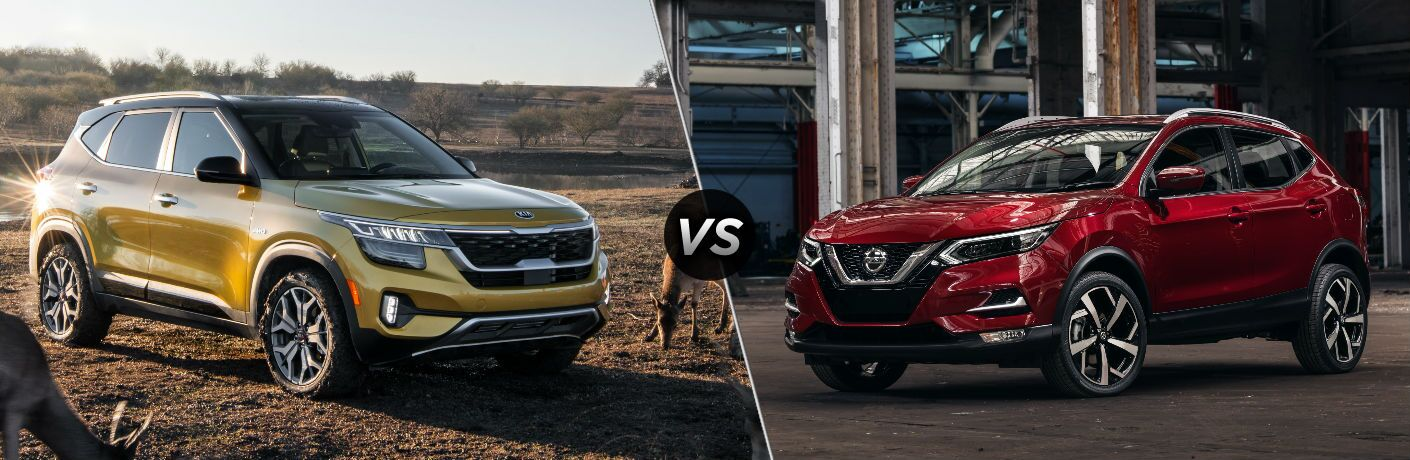 Yellow 2021 Kia Seltos vs red 2020 Nissan Rogue Sport
