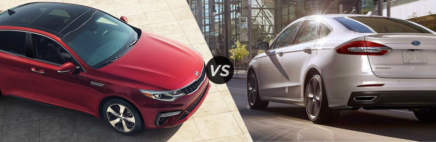 Split screen images of the 2019 Kia Optima and 2019 Ford Fusion
