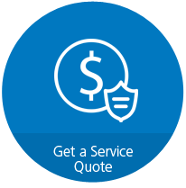 "Circular blue icon with a dollar sign and shield, with text that reads, ""Get a Service Quote."""