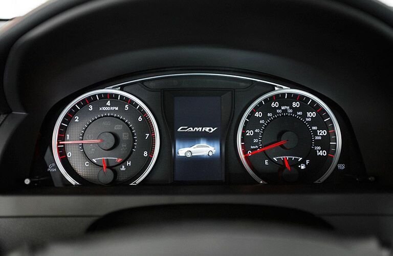 Instrument cluster on the dash of the 2017 Toyota Camry