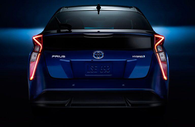 Rear profile of blue 2017 Toyota Prius