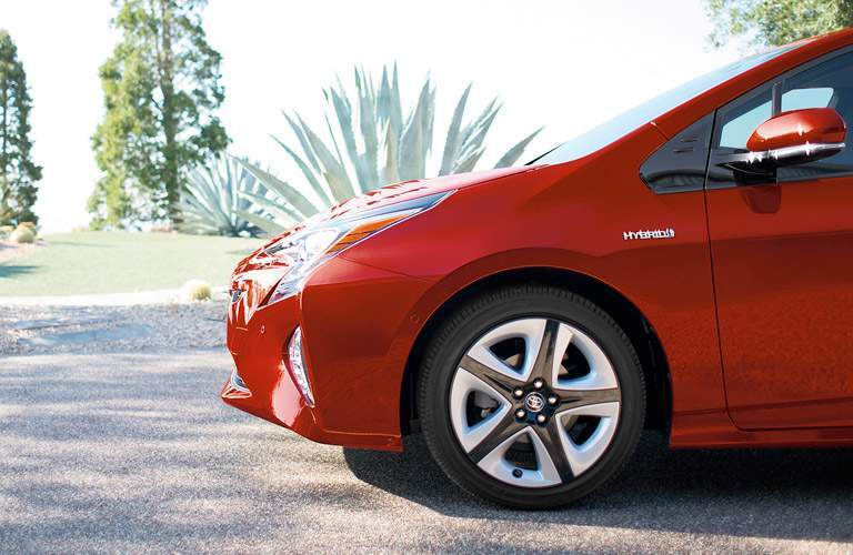 red 2017 Toyota Prius front wheel