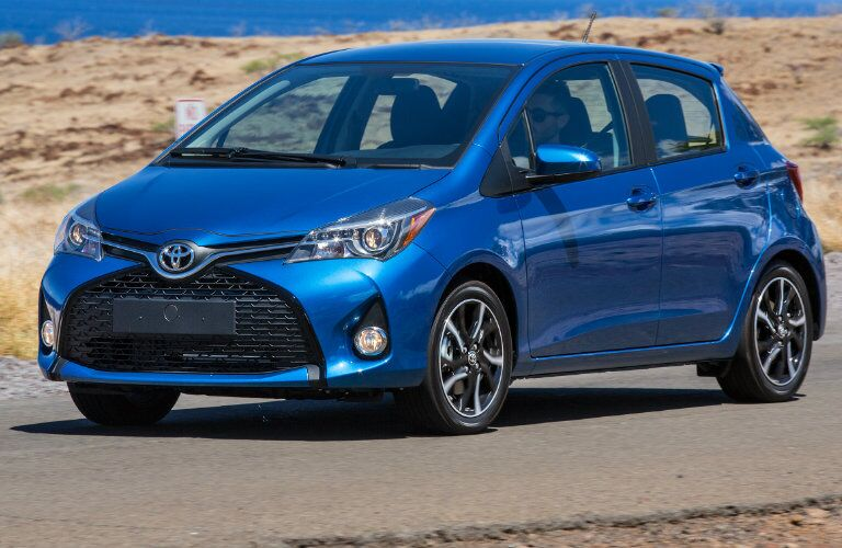 Blue 2017 Toyota Yaris hatchback