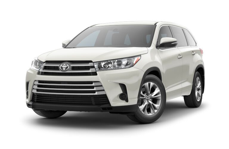 Front exterior view of a white 2018 Toyota Highlander