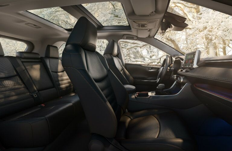 2019 Toyota RAV4 interior side shot of passenger seating, cabin space, and panoramic moonroof