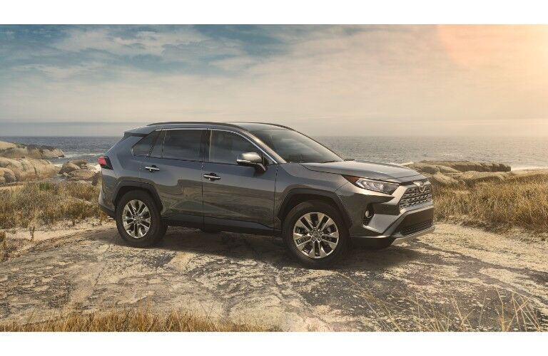 2019 Toyota RAV4 exterior side shot with gray metal paint color parked on a dome of rock and sand near a cloudy dawn beach