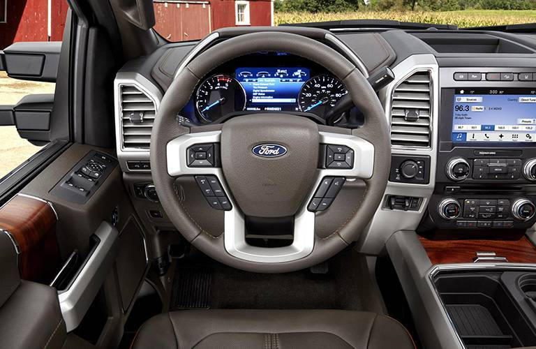2017 Ford SuperDuty Interior view of steering wheel and dashboard