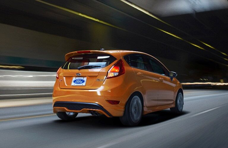 2017 Ford Fiesta hatchback driving through tunnel