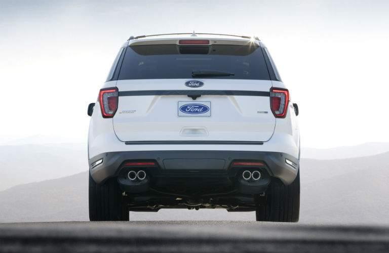 white 2018 Ford Explorer back end