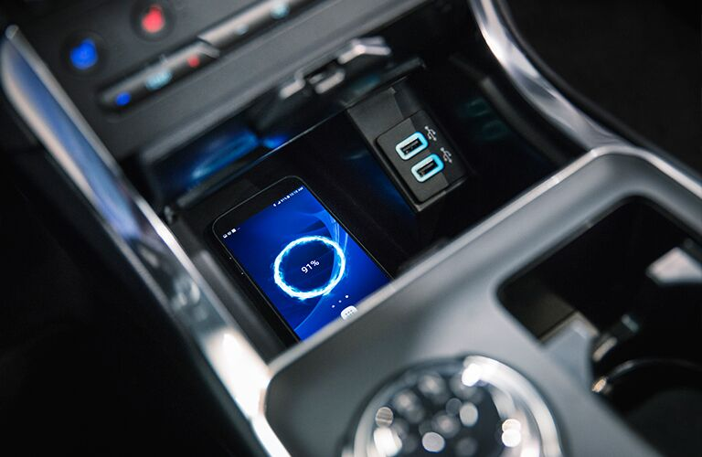2019 Ford Edge interior front cabin close up of wireless phone charging station