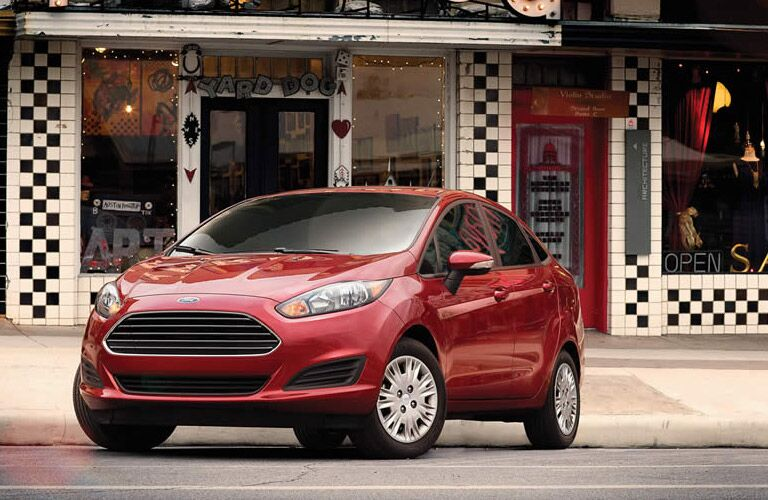 Exterior of a Red 2016 Ford Fiesta