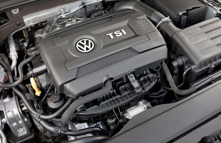 Closeup image of 2018 Volkswagen Golf TSI turbocharged engine