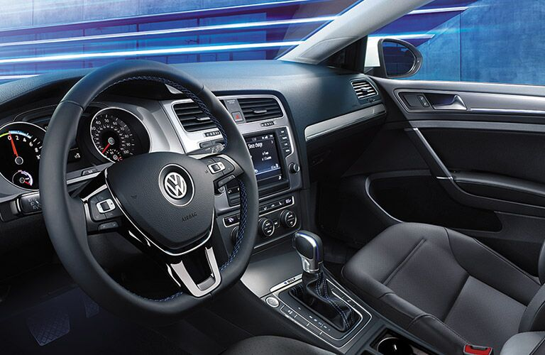Interior 2016 VW e-Golf emissions-free electric vehicle Tigard OR