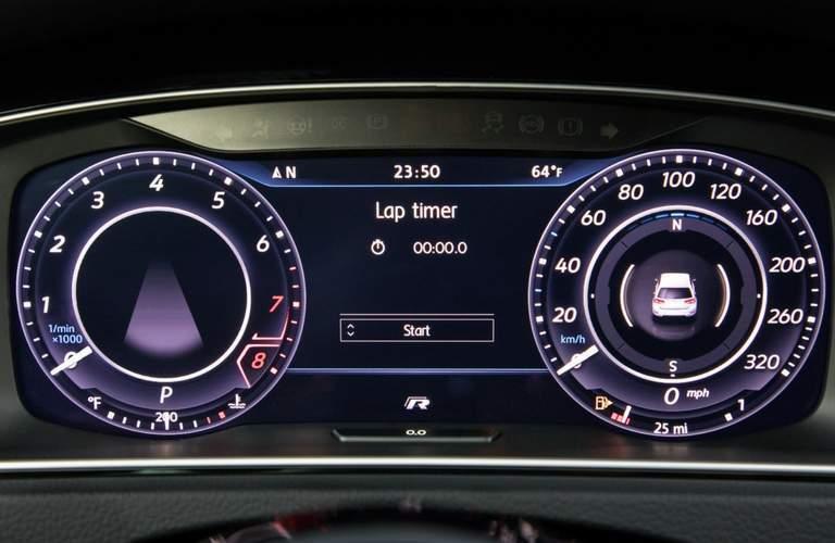 Lap Timer and gauges of 2018 Volkswagen Golf R