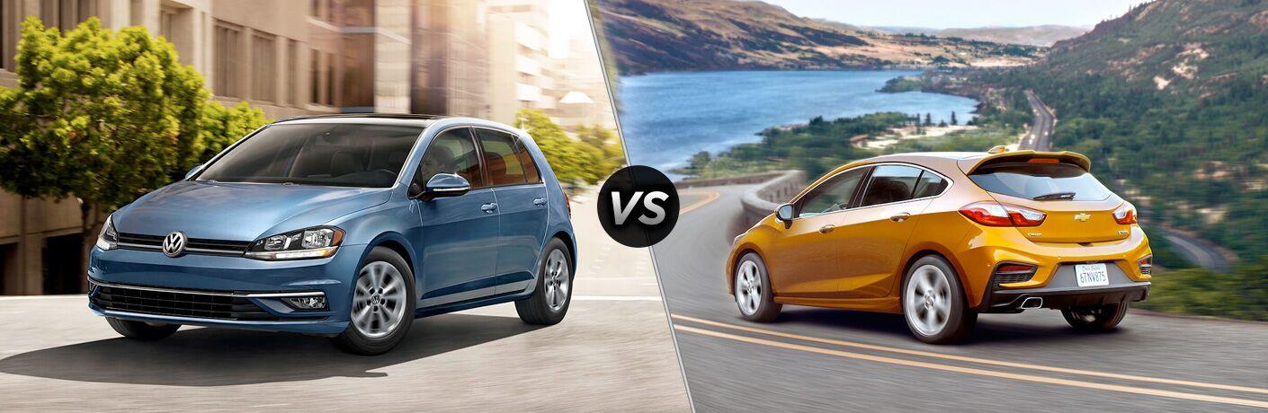 Blue 2018 Volkswagen Golf next to orange 2018 Chevy Cruze Hatchback in comparison