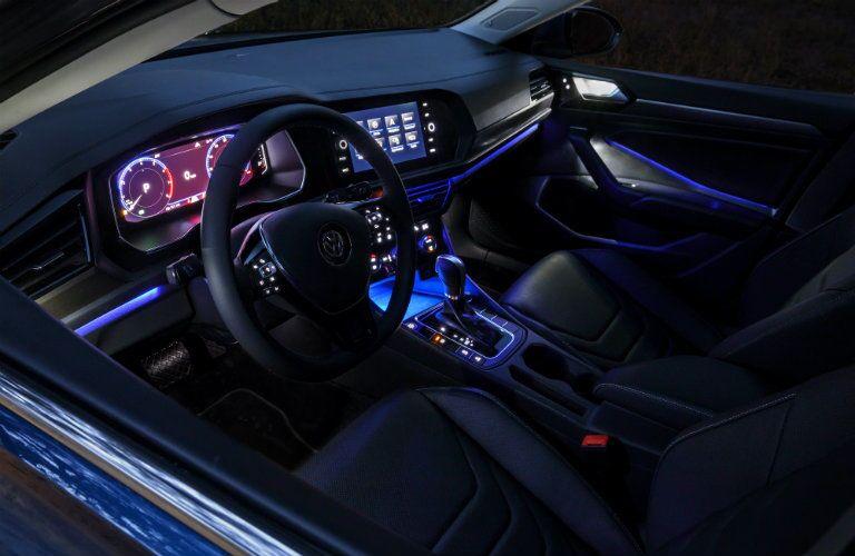 Blue interior ambient lighting in the 2019 Volkswagen Jetta