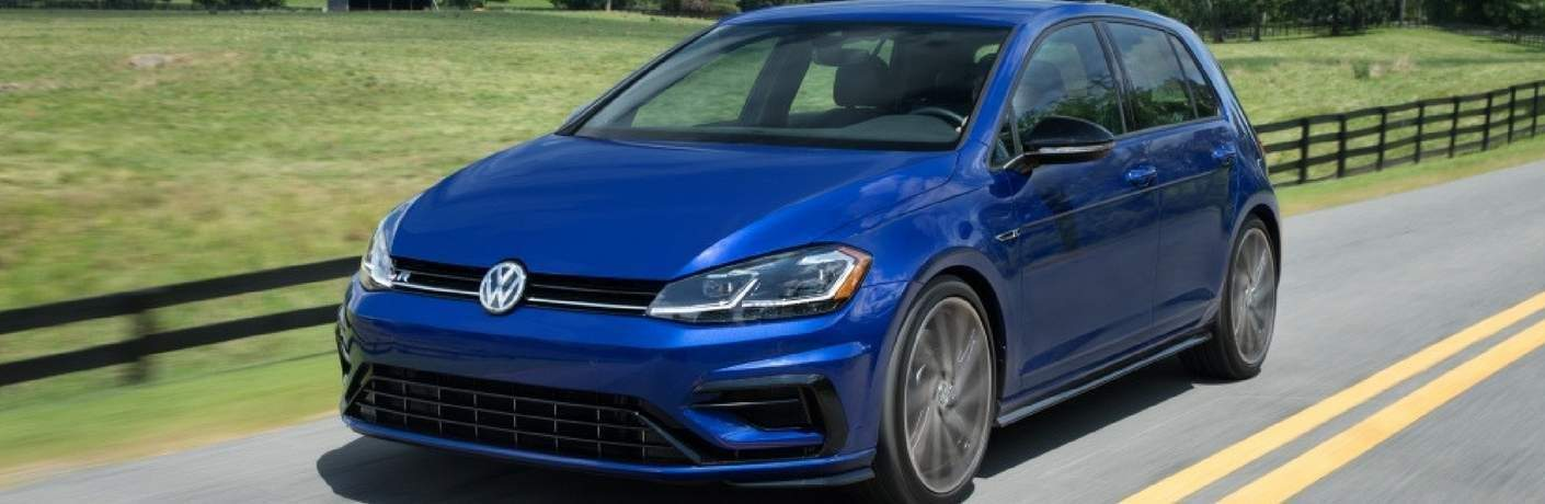 2018 Volkswagen Golf R driving on country road