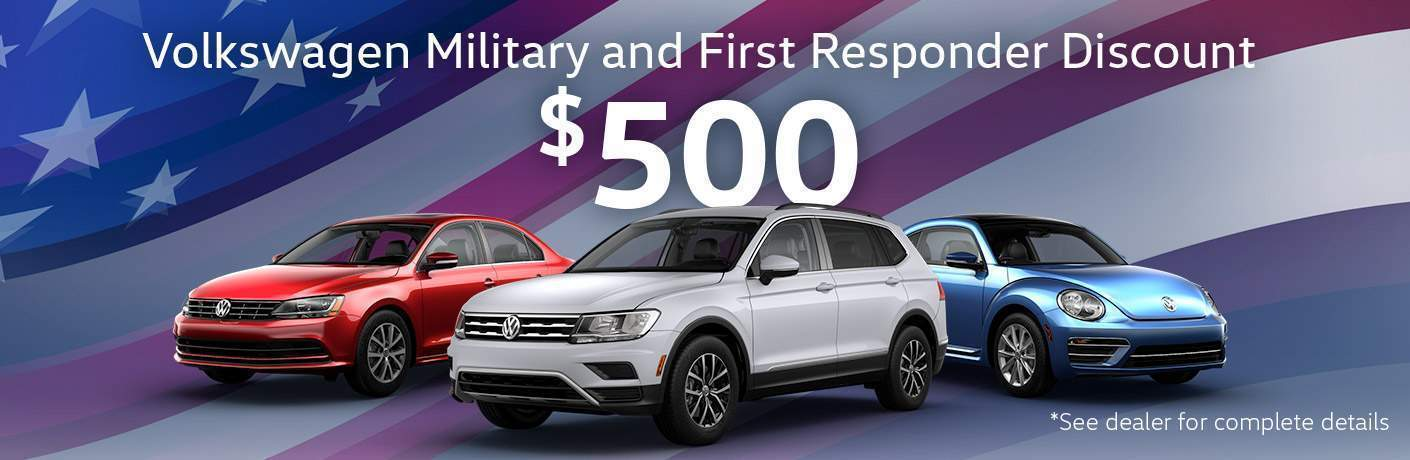 VW Military and First Responder Program $500 with picture of Beetle, Tiguan and Passat over American Flag background