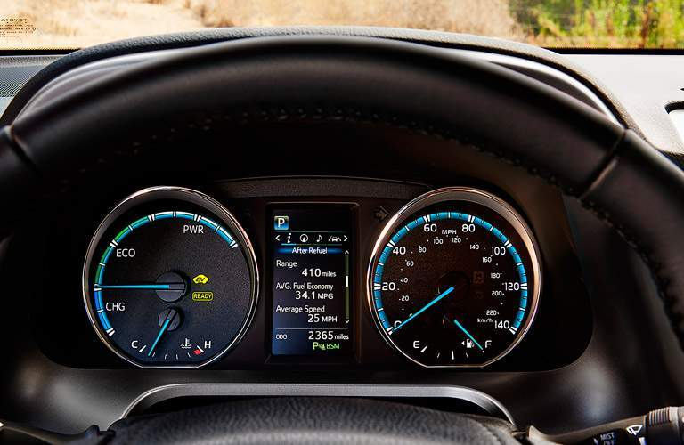 View of the dashboard on the 2017 Toyota RAV4 Hybrid