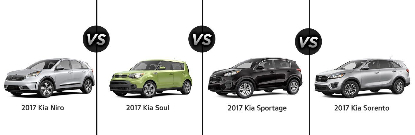 2017 Kia Soul vs. Niro vs. Sportage vs. Sorento SUVs crossovers