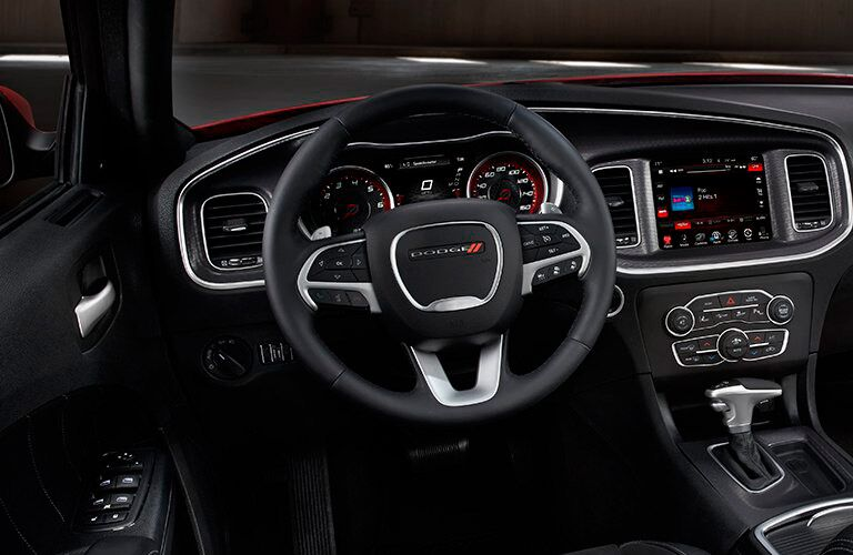 steering wheel and front instrumentation in the 2016 Dodge Charger SRT Hellcat