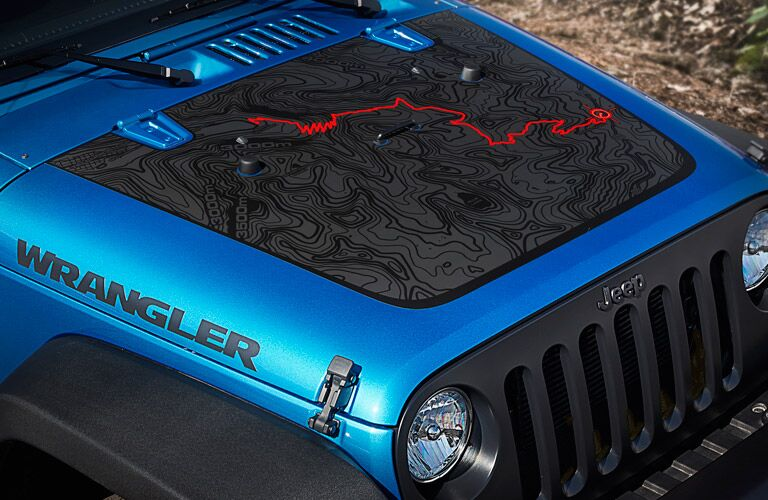 hood closeup of the 2016 Jeep Wrangler Unlimited