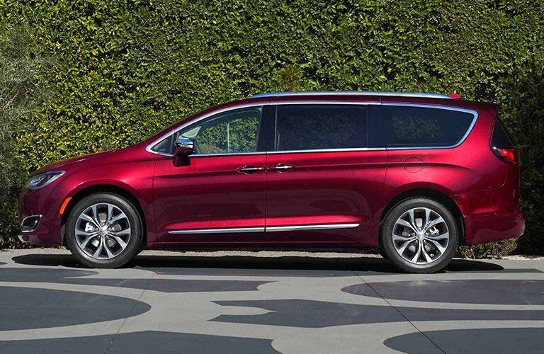 red 2017 Chrysler Pacifica seen from the side