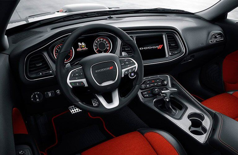 steering wheel and infotainment system of the 2017 Dodge Challenger