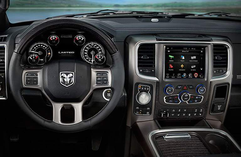 a steering wheel and infotainment option on the 2017 Ram 1500