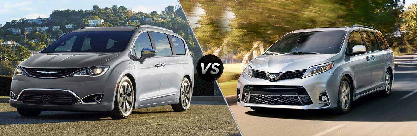side by side comparison image of the 2018 Chrysler Pacifica and 2018 Toyota Sienna, both in silver
