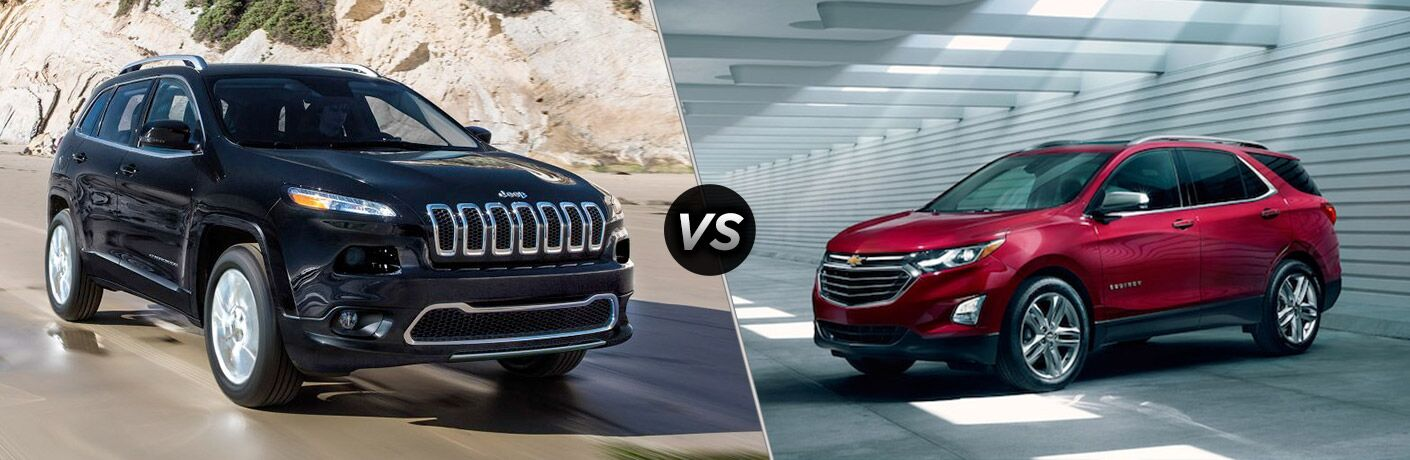 2018 Jeep Cherokee and 2018 Chevy Equinox in a comparison image