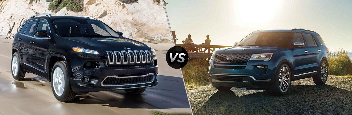 side by side images of a 2018 Jeep Cherokee and a 2018 Ford Explorer, both in blue