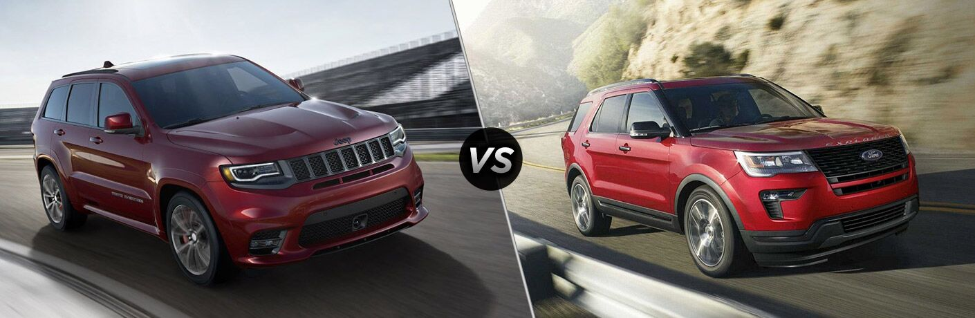 side by side images of a red 2018 Jeep Grand Cherokee and a red 2018 Ford Explorer