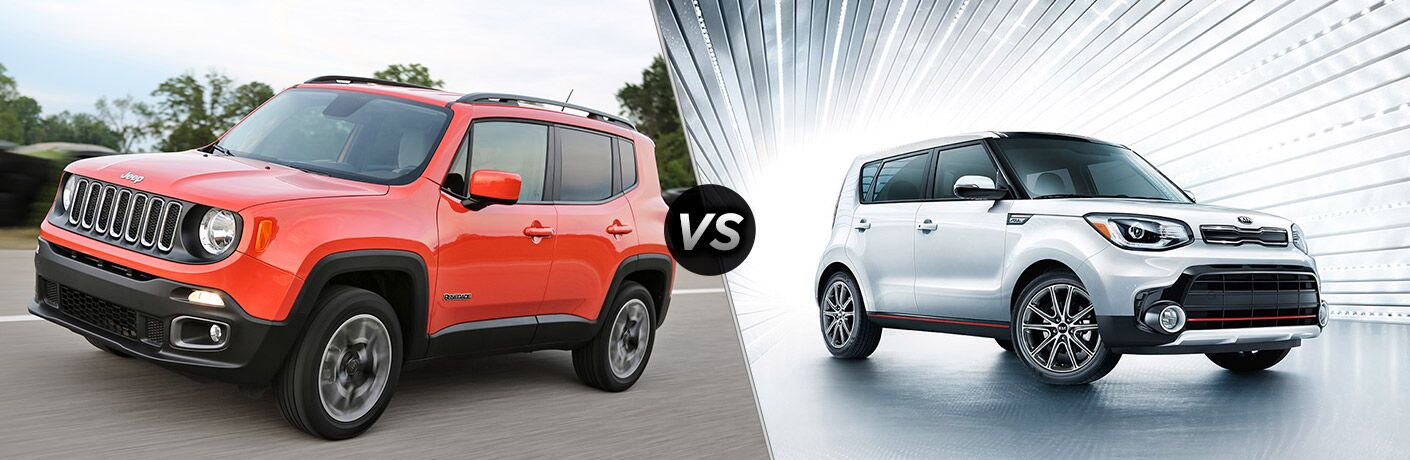 side by side images of the 2018 Jeep Renegade and 2018 Kia Soul