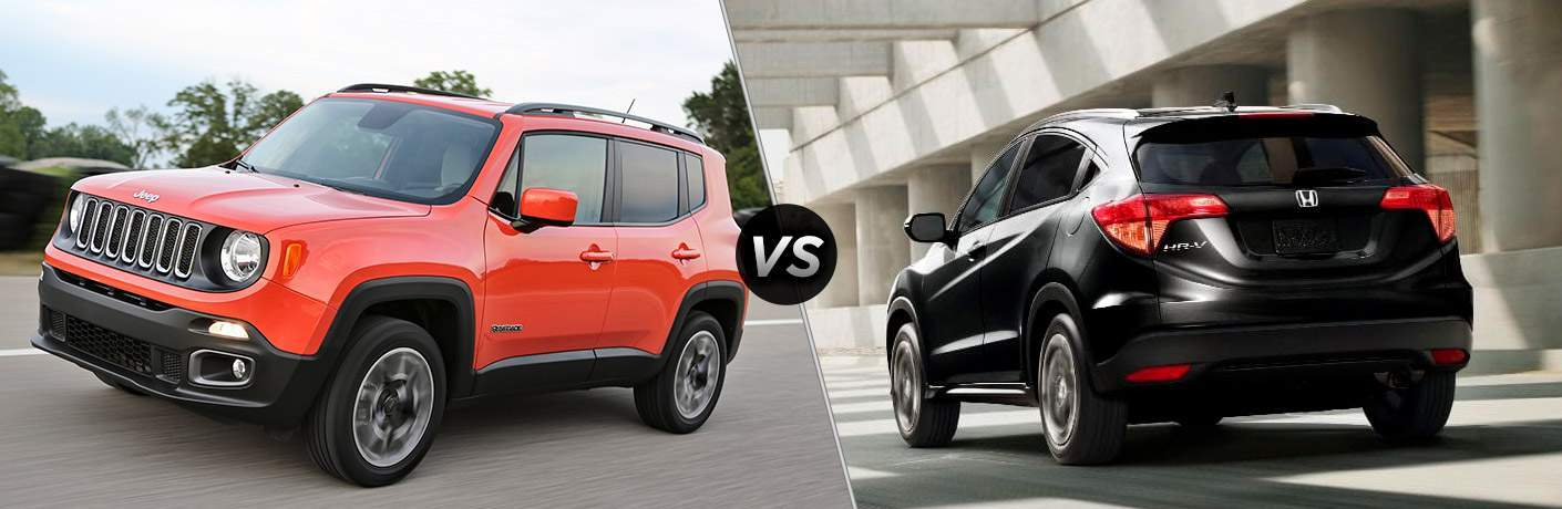 side by side images of the 2018 Jeep Renegade and 2018 Honda HR-V with a versus sign between them