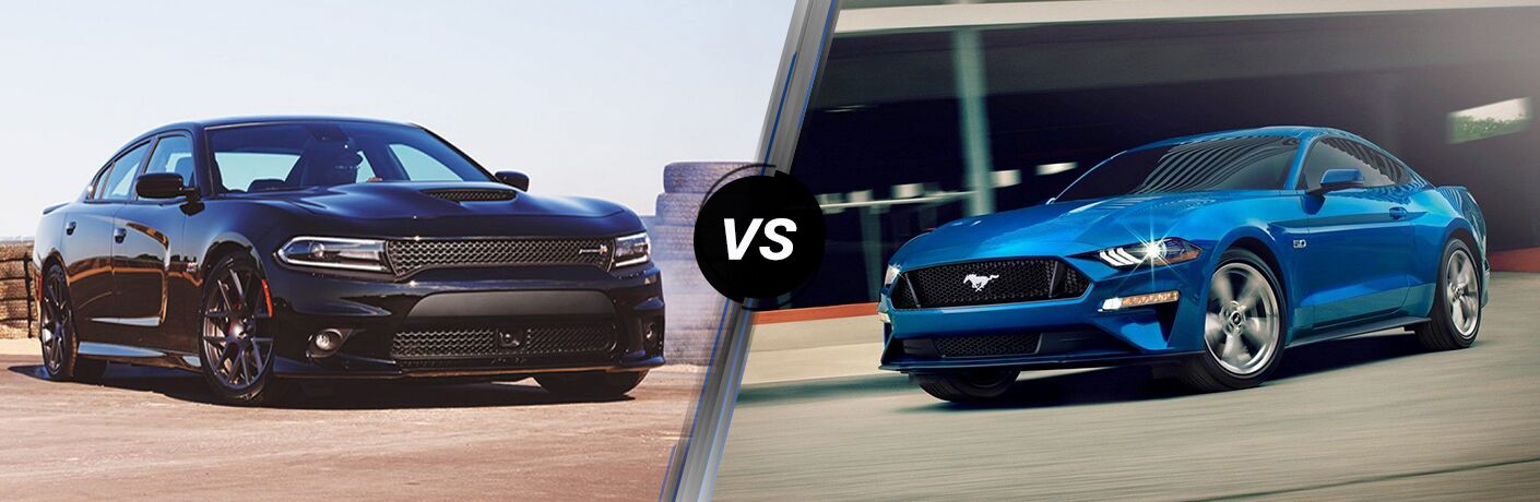 Black 2019 Dodge Charger and blue 2019 Ford Mustang