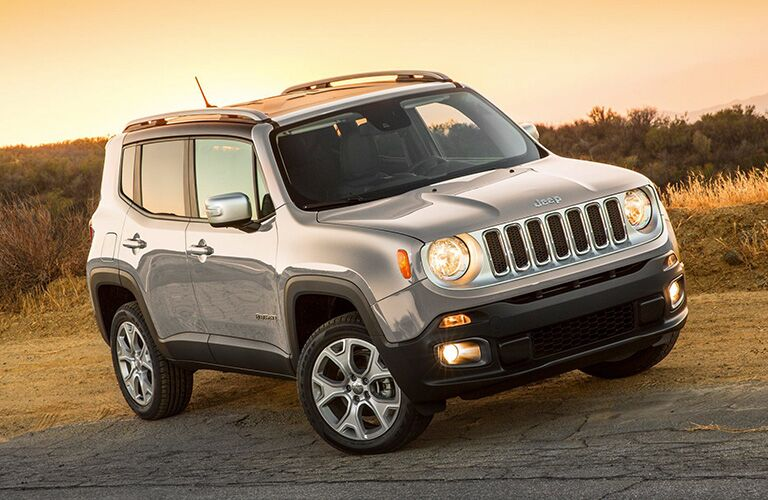 front and side of the 2019 Jeep Renegade with sunset lighting