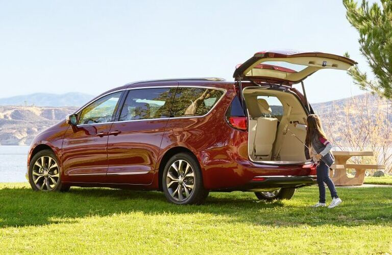 Red 2020 Chrysler Pacifica with trunk open