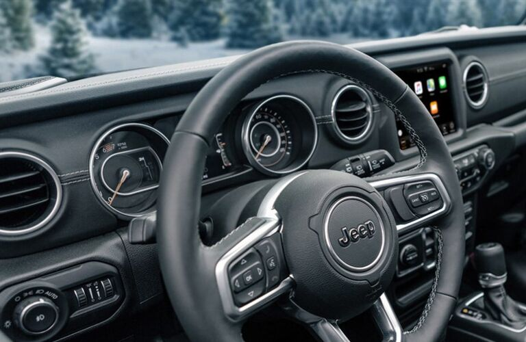 Closeup of steering wheel in 2020 Jeep Wrangler