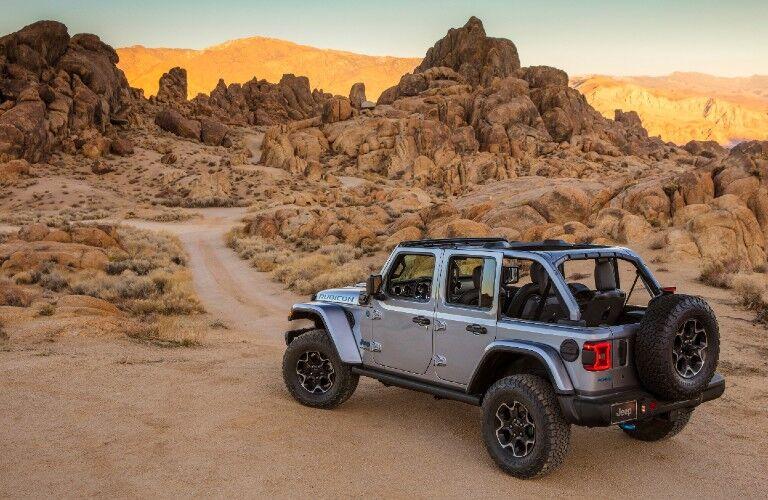 2021 Jeep Wrangler by scenic rocky desert terrain