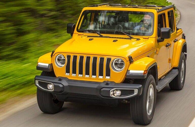 2021 Jeep Wrangler in Hella Yella on road