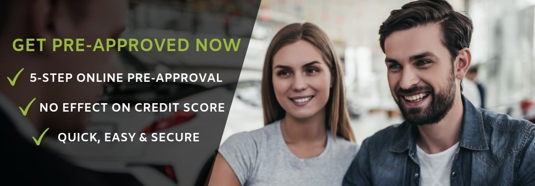 "Couple talking to salesperson with overlaying text stating ""get pre-approved now. 5-step online pre-approval. no effect on credit score. quick, easy & secure"""