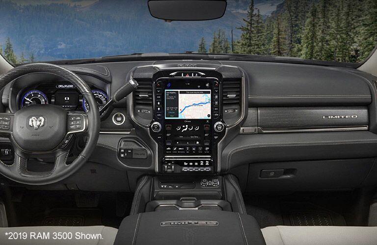 "2020 Ram 3500 dashboard and steering wheel ""2019 Ram 3500 shown"""