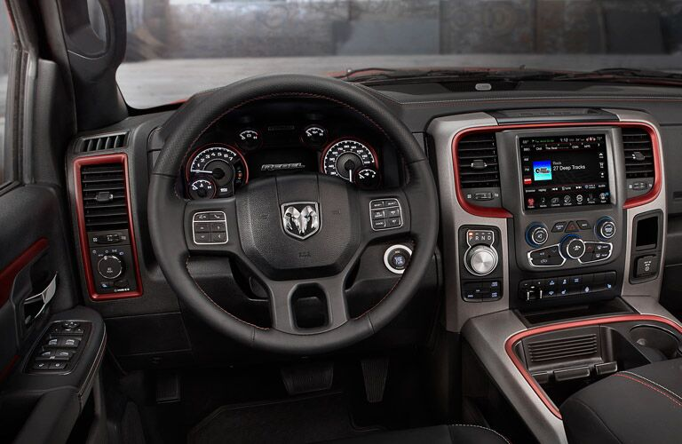 Interior steering wheel view for the 2016 Ram 1500